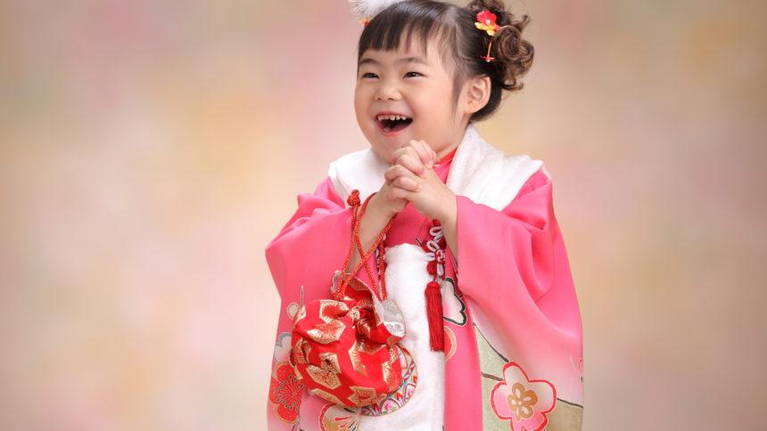 土浦市 写真館 七五三祝い 3歳女児 着物 和装 お被布 巾着 ピンク